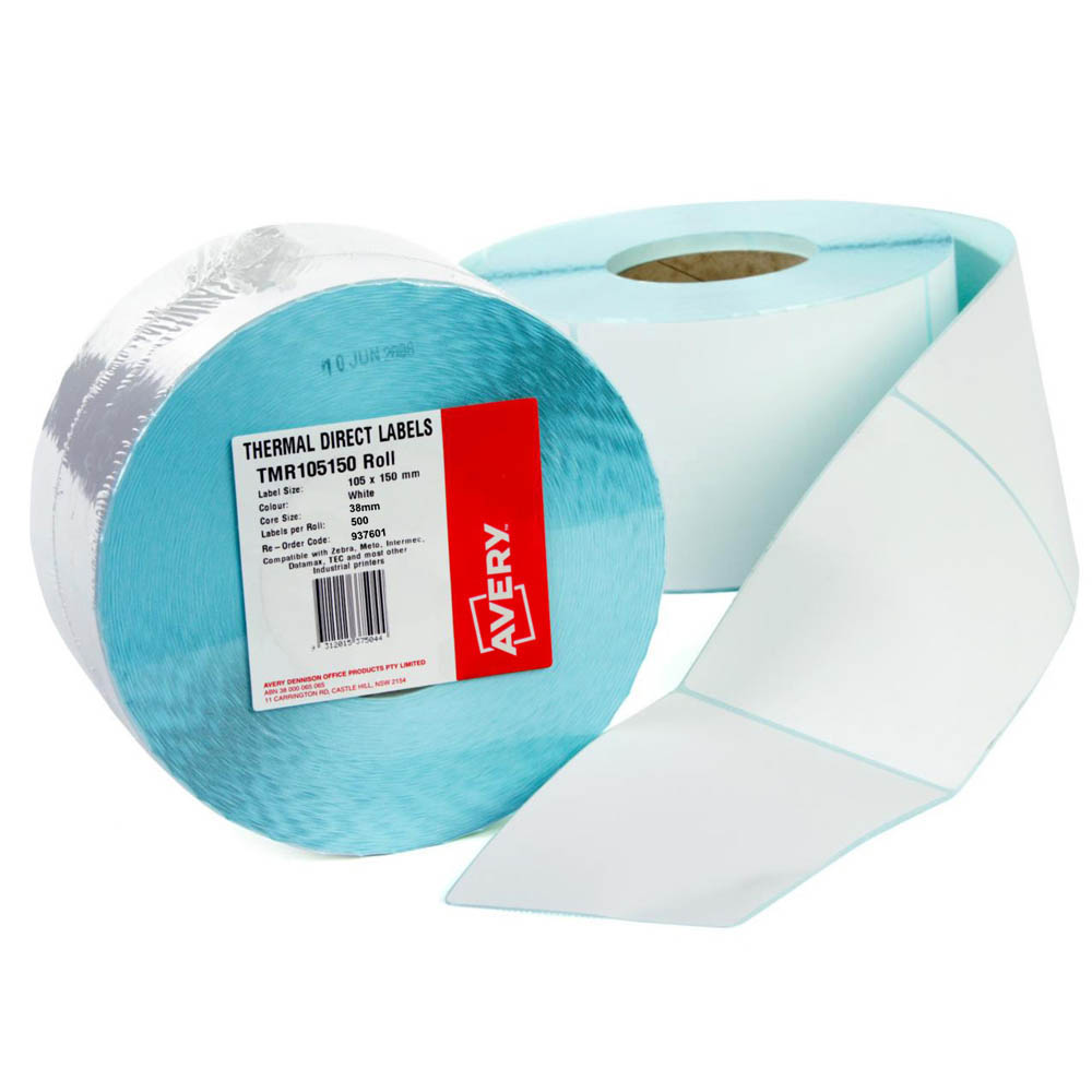 Image for AVERY 937601 DIRECT THERMAL LABELS WITH PERFORATION 101 X 150MM ROLL 500 from Paul John Office National