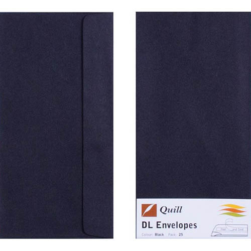 Image for QUILL DL COLOURED ENVELOPES PLAINFACE STRIP SEAL 80GSM 110 X 220MM BLACK PACK 25 from Axsel Office National