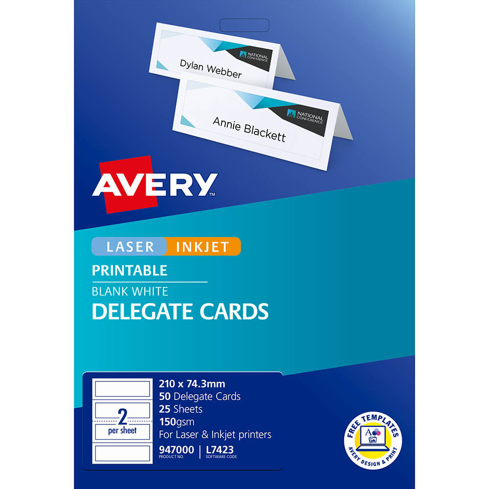 Image for AVERY 947000 L7423 DELEGATE CARDS LASER EMBOSSED 2UP 210 X 74.25MM 150GSM PACK 25 from Axsel Office National
