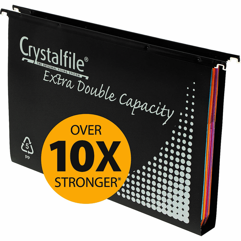 Image for CRYSTALFILE EXTRA SUSPENSION FILES DOUBLE CAPACITY 30MM PP FOOLSCAP BLACK BOX 10 from Mackay Business Machines (MBM)