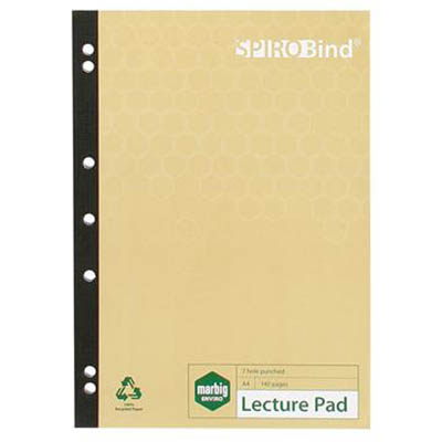 Image for MARBIG 100% RECYCLED LECTURE PAD 7 HOLE PUNCHED 140 PAGE A4 from Axsel Office National