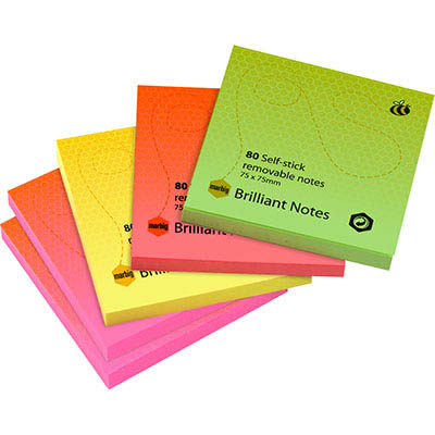 Image for MARBIG BRILLIANT NOTES REPOSITIONABLE 75 X 75MM ASSORTED PACK 5 from Mackay Business Machines (MBM)