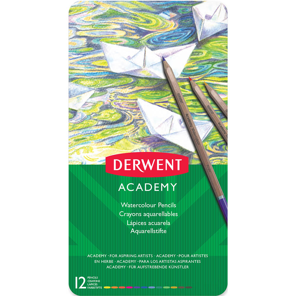 Image for DERWENT ACADEMY WATERCOLOUR PENCILS ASSORTED TIN 12 from Ezi Office National Tweed