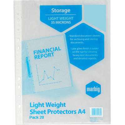 Image for MARBIG COPYSAFE SHEET PROTECTORS LIGHTWEIGHT A4 PACK 20 from Mackay Business Machines (MBM)