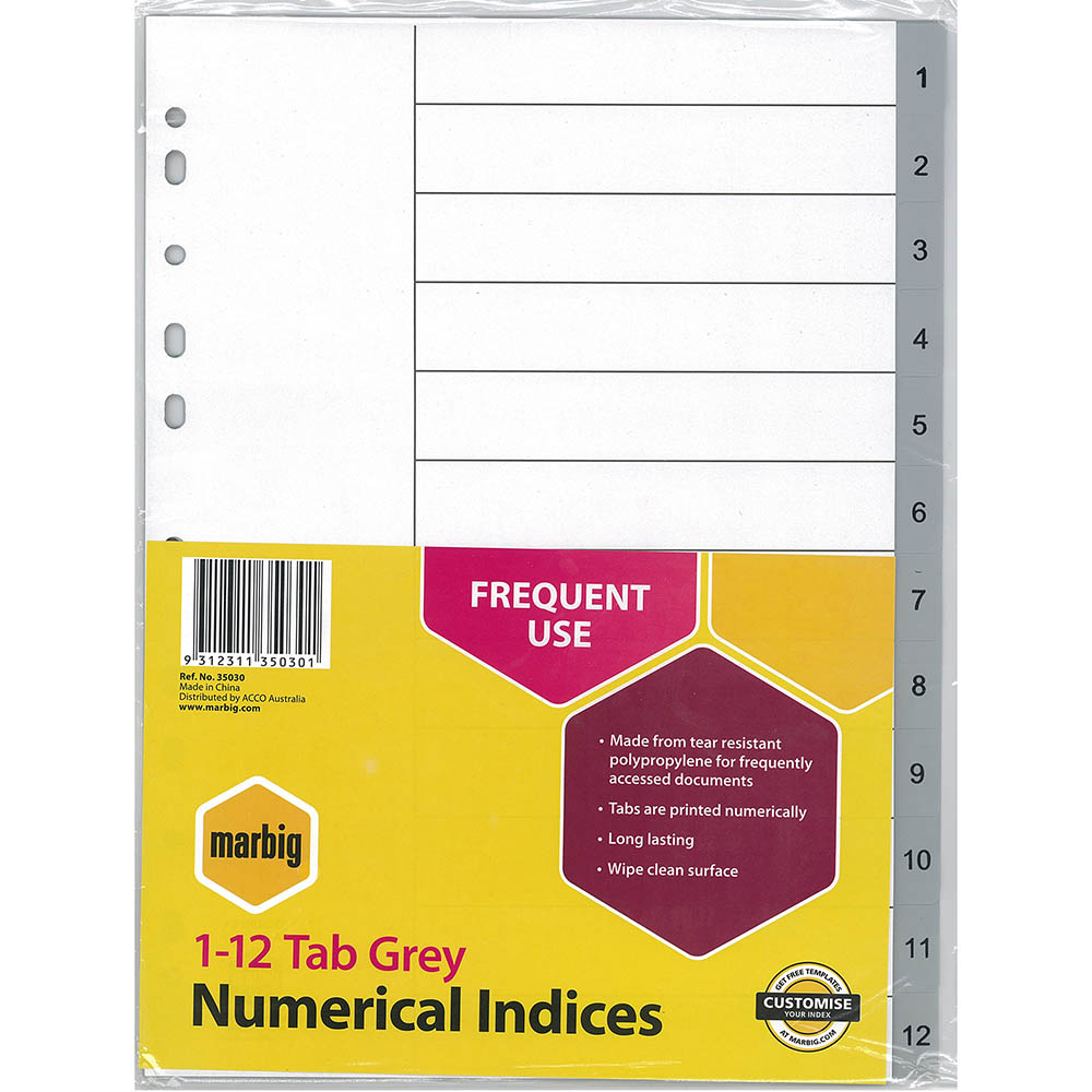 Image for MARBIG INDEX DIVIDER PP 1-12 TAB A4 GREY from Office National Perth CBD
