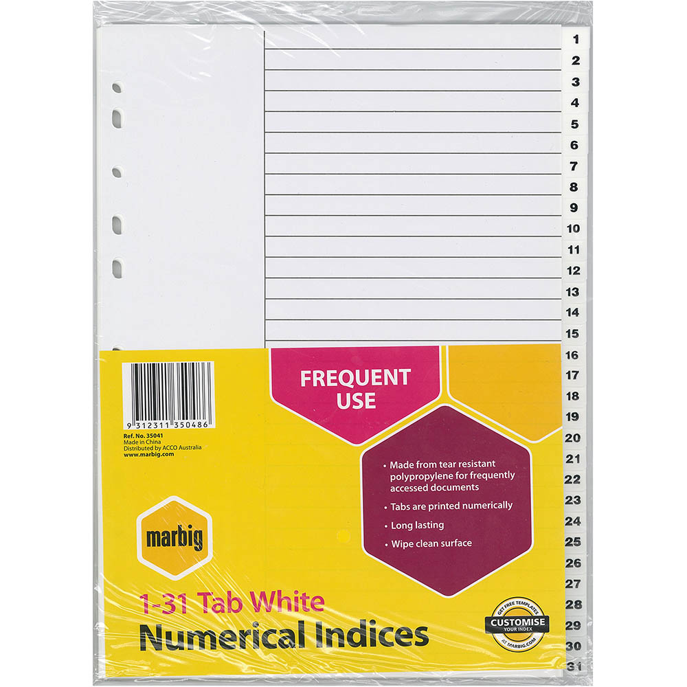 Image for MARBIG INDEX DIVIDER PP 1-31 TAB A4 WHITE from Office National Perth CBD