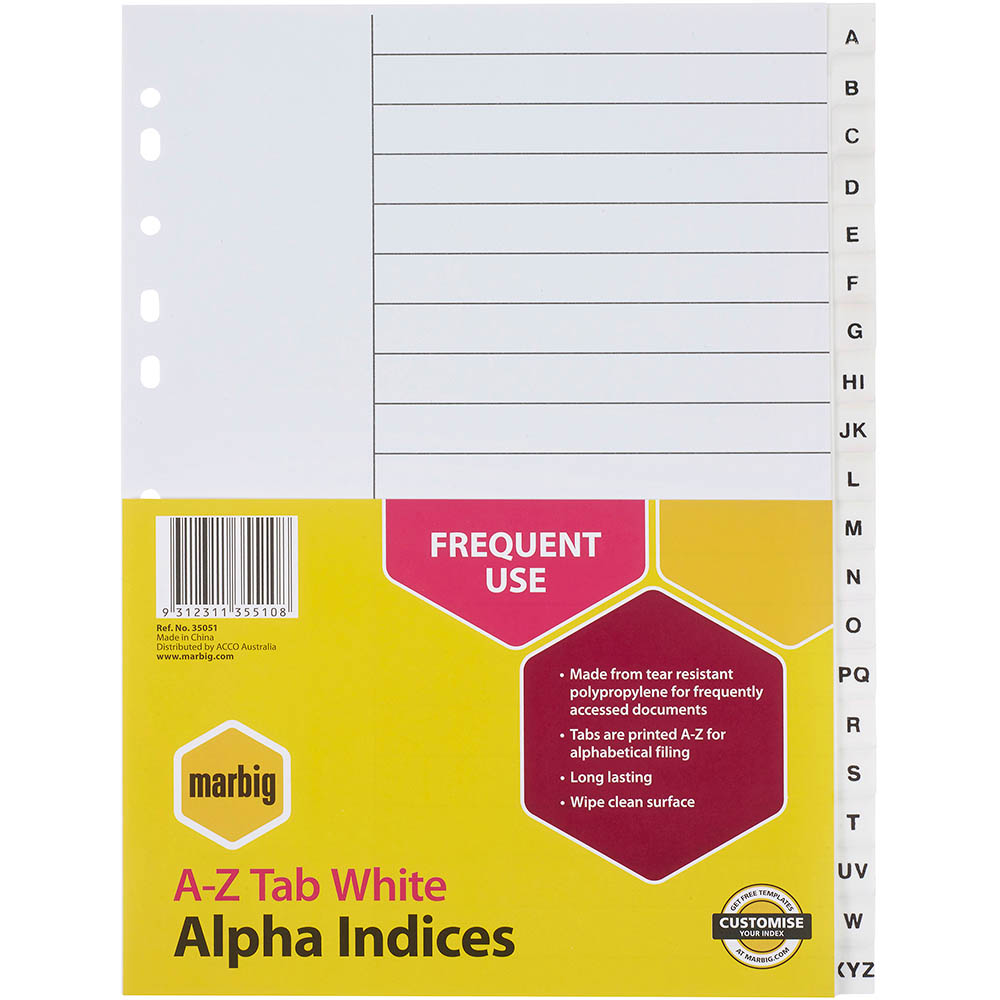 Image for MARBIG INDEX DIVIDER PP A-Z TAB A4 WHITE from Axsel Office National