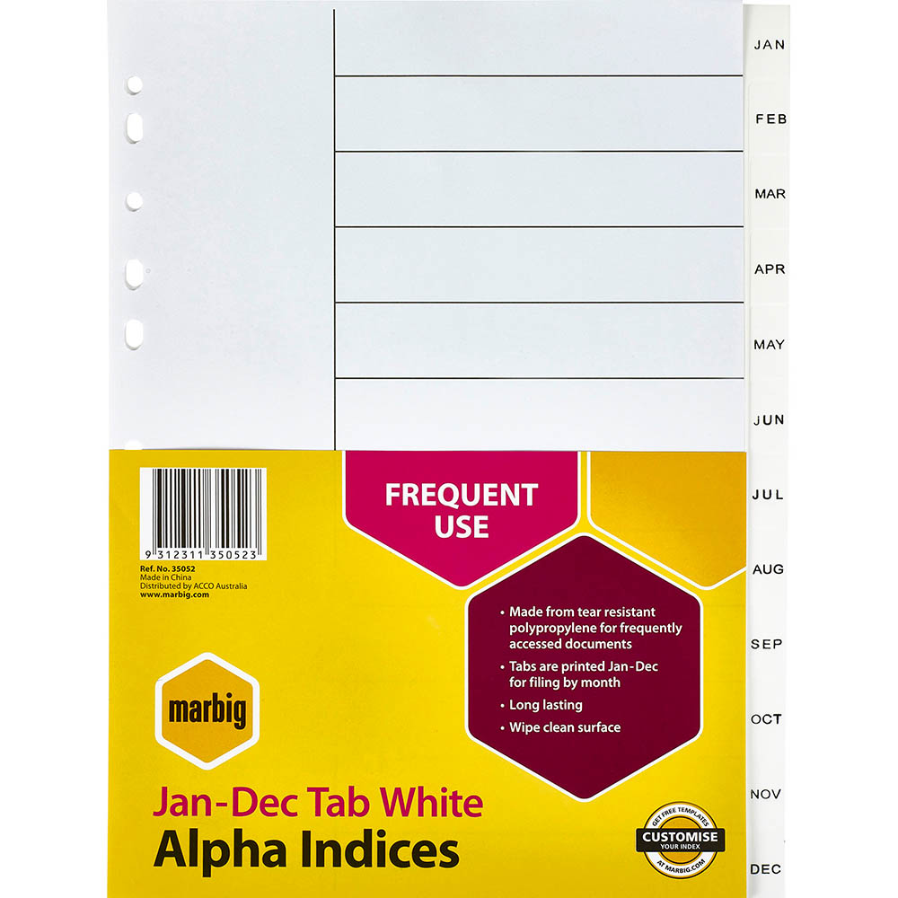 Image for MARBIG INDEX DIVIDER PP JAN-DEC TAB A4 WHITE from Axsel Office National