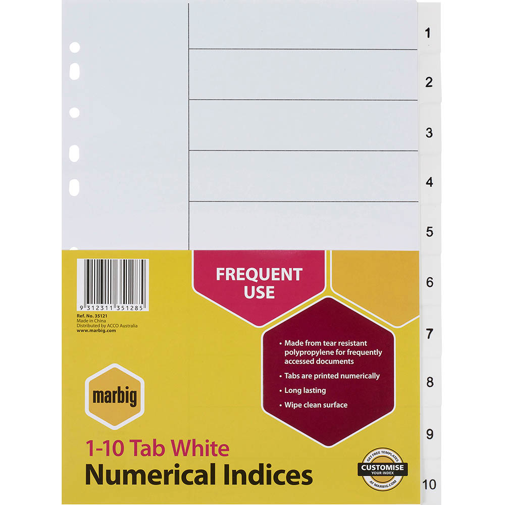 Image for MARBIG INDEX DIVIDER PP 1-10 TAB A4 WHITE from Office National Perth CBD