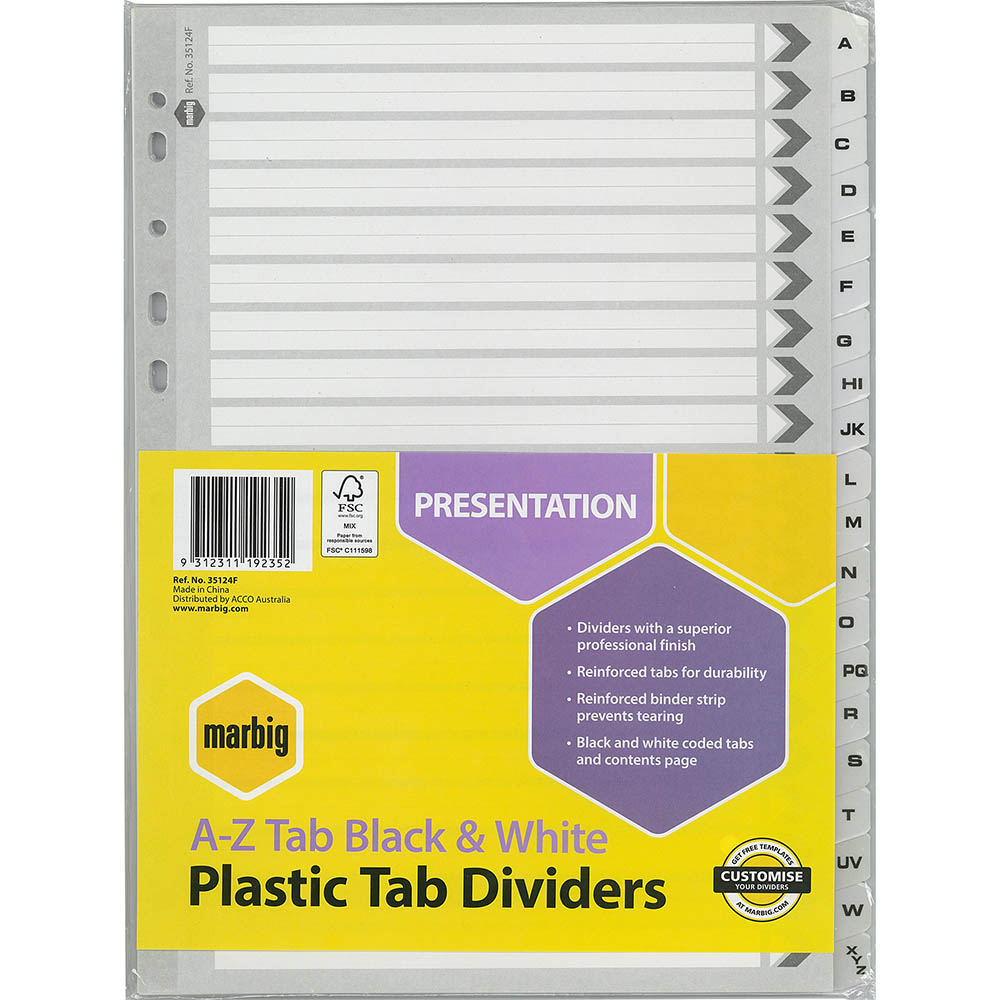 Image for MARBIG DIVIDER A-Z TAB A4 BLACK/WHITE from Office National Perth CBD