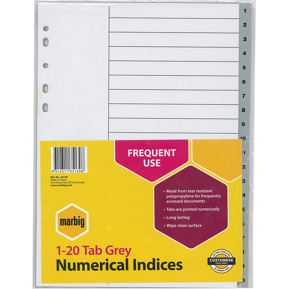 Image for MARBIG INDEX DIVIDER PP 1-20 TAB A4 GREY from Office National Perth CBD