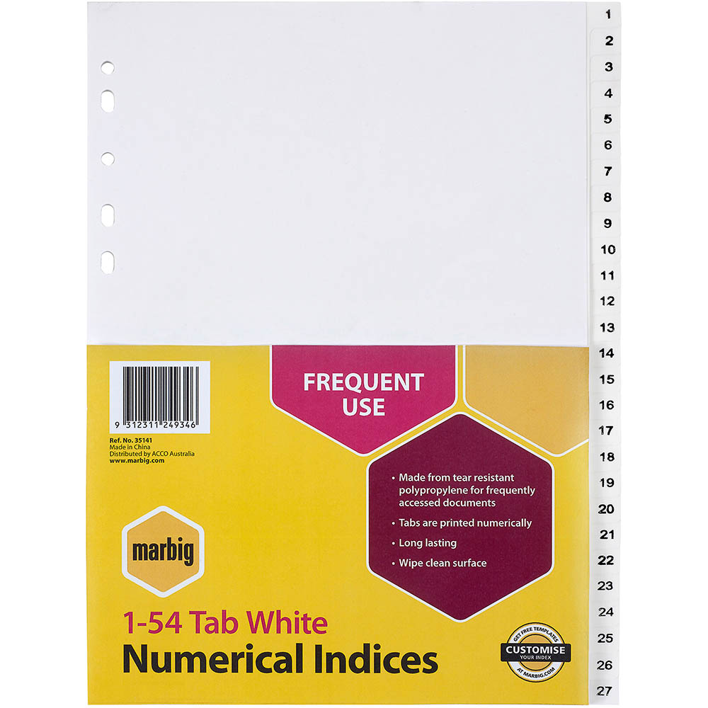 Image for MARBIG DIVIDER PP 54-TAB A4 WHITE from Axsel Office National