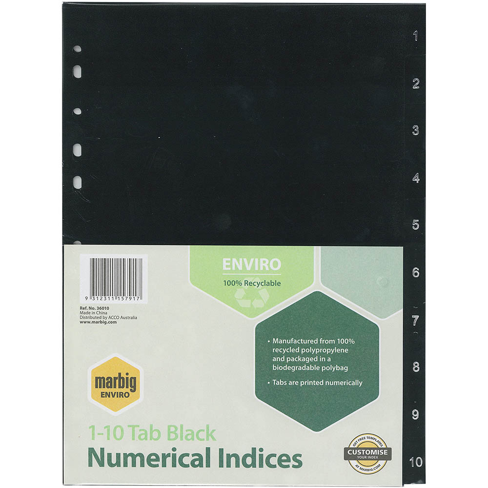 Image for MARBIG ENVIRO DIVIDER PP 10-TAB A4 BLACK from Axsel Office National