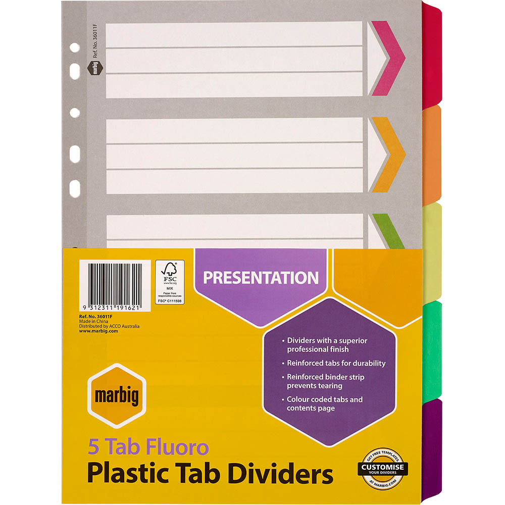 Image for MARBIG DIVIDER REINFORCED MANILLA 5-TAB A4 FLUORO ASSORTED from Axsel Office National