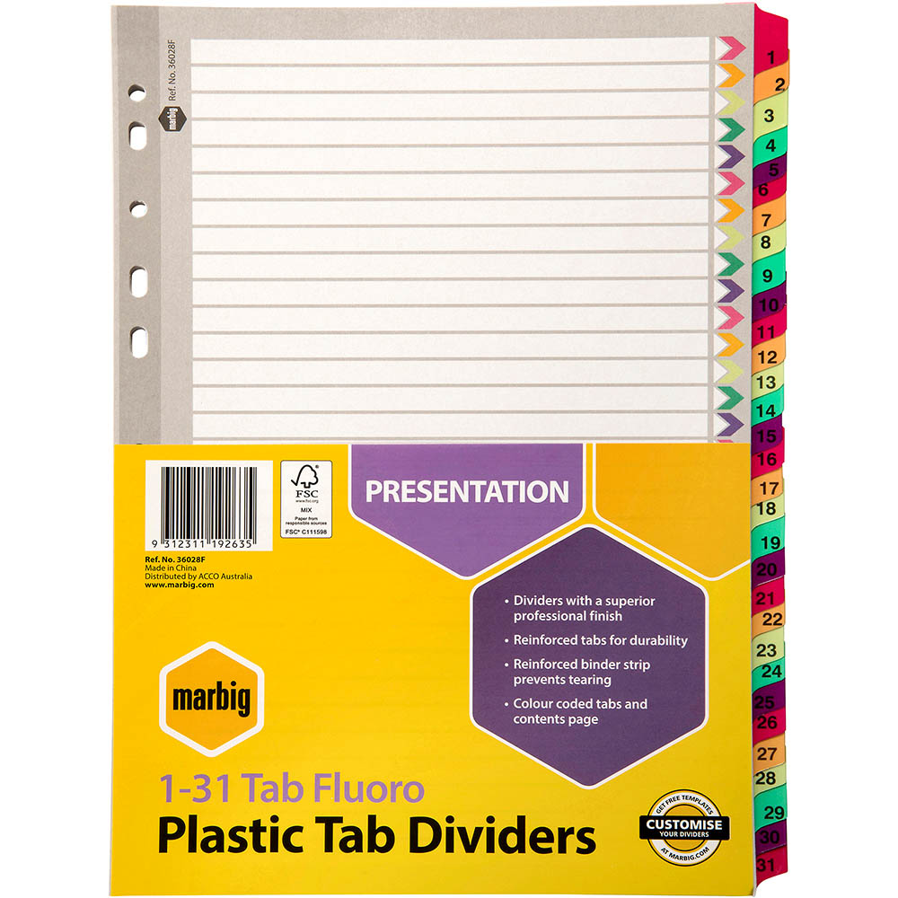 Image for MARBIG DIVIDER REINFORCED MANILLA 31-TAB A4 FLUORO ASSORTED from Office National Perth CBD