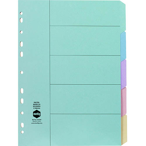 Image for MARBIG DIVIDER MANILLA 5-TAB A4 PASTEL ASSORTED from Office National Perth CBD