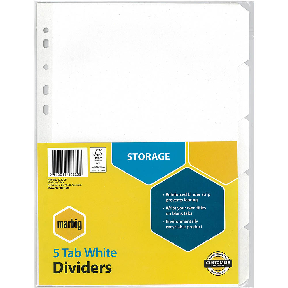 Image for MARBIG DIVIDER MANILLA 5-TAB A4 WHITE from Office National Perth CBD