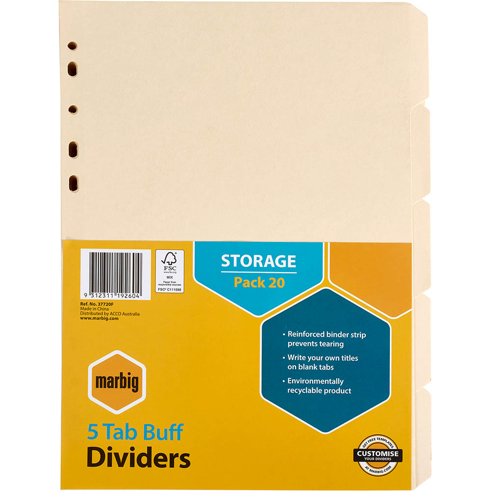 Image for MARBIG DIVIDER MANILLA 5-TAB A4 BUFF PACK 20 from Office National Kalgoorlie
