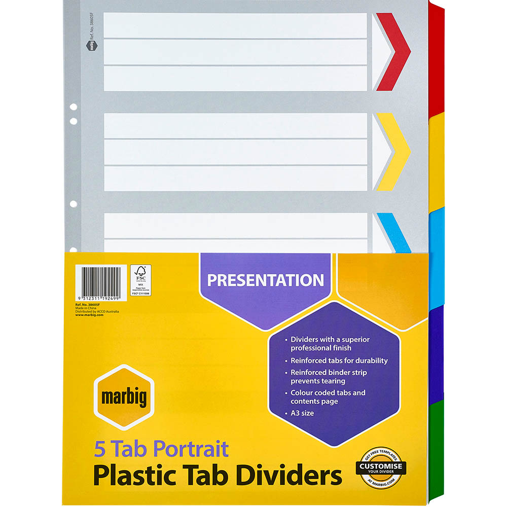 Image for MARBIG DIVIDER MANILLA 5-TAB A3 ASSORTED from Mackay Business Machines (MBM)