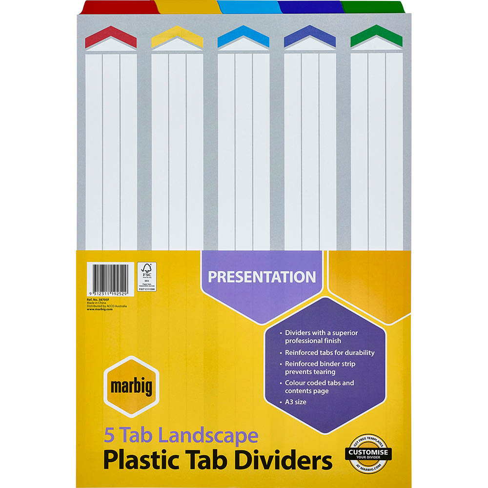 Image for MARBIG DIVIDER LANDSCAPE MANILLA 5-TAB A3 ASSORTED from Mackay Business Machines (MBM)