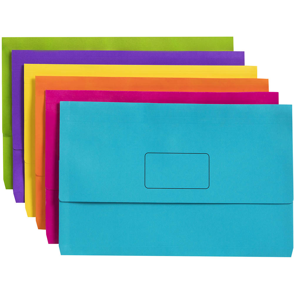 Image for MARBIG SLIMPICK DOCUMENT WALLET FOOLSCAP ASSORTED PACK 10 from Paul John Office National
