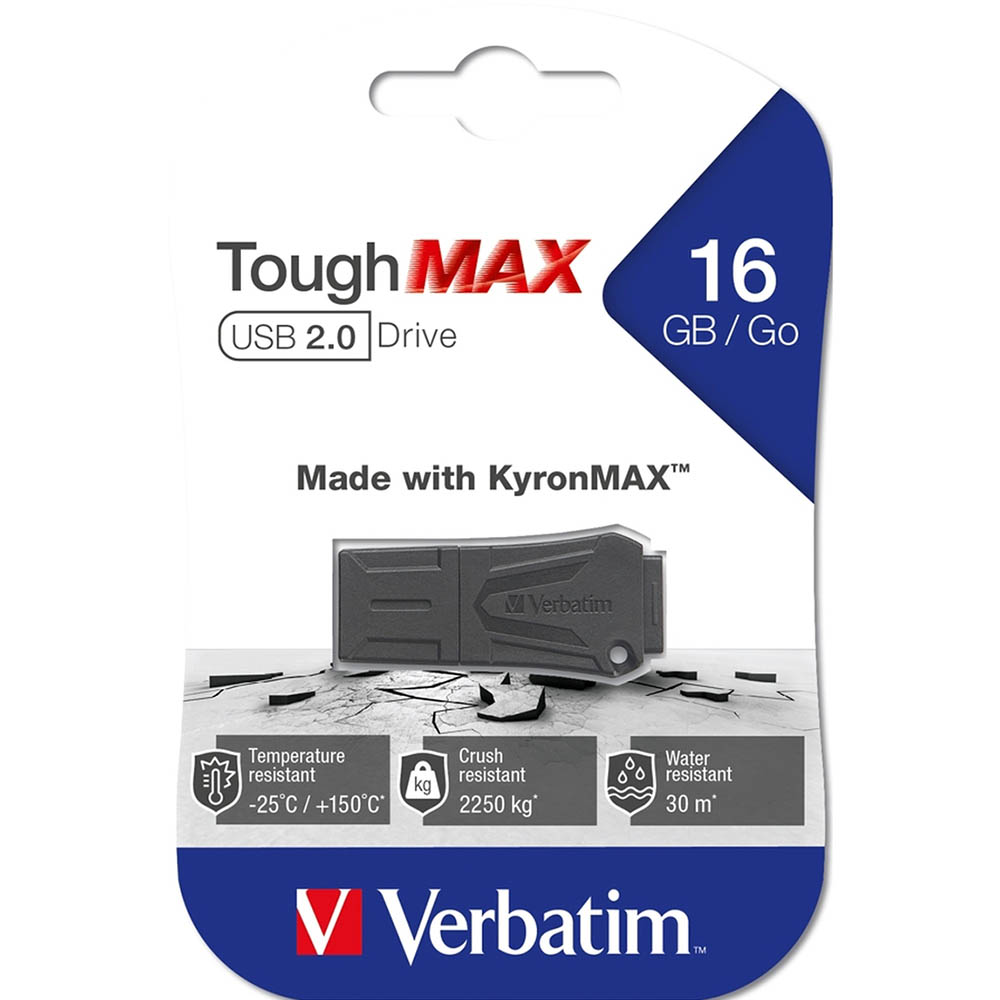 Image for VERBATIM TOUGHMAX USB2.0 FLASH DRIVE 16GB BLACK from SBA Office National