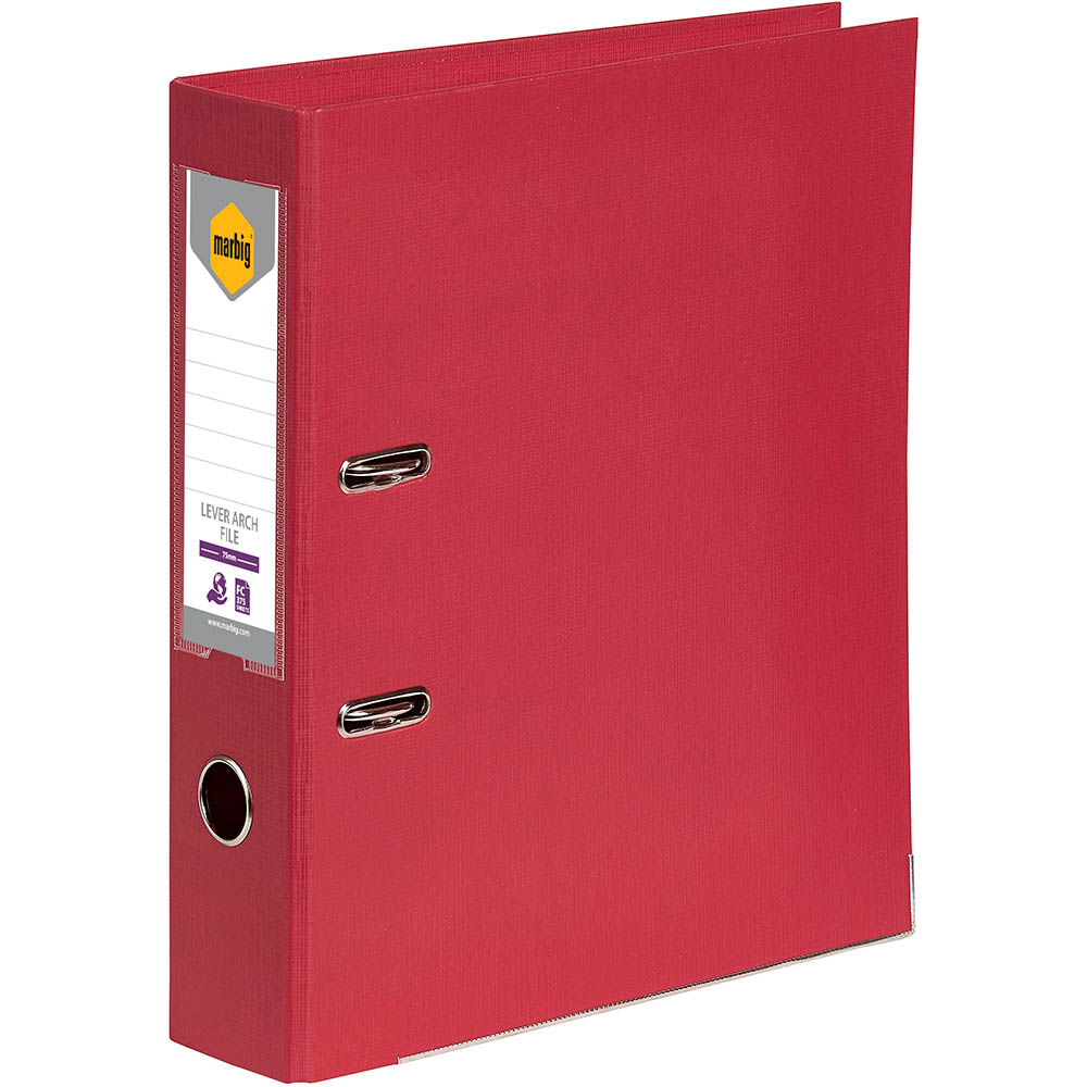 Image for MARBIG LEVER ARCH FILE 75MM FOOLSCAP DEEP RED from Axsel Office National