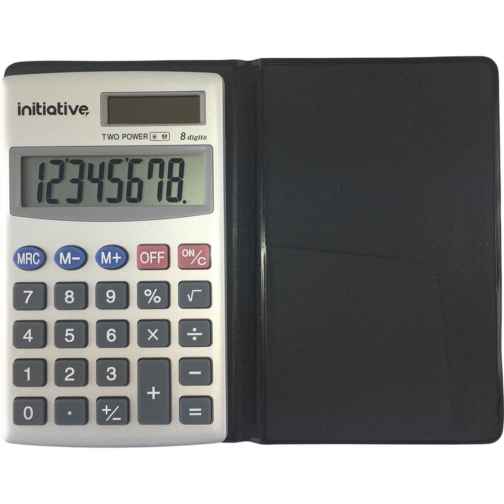 Image for INITIATIVE POCKET CALCULATOR 8 DIGIT DUAL POWERED GREY from Pirie Office National