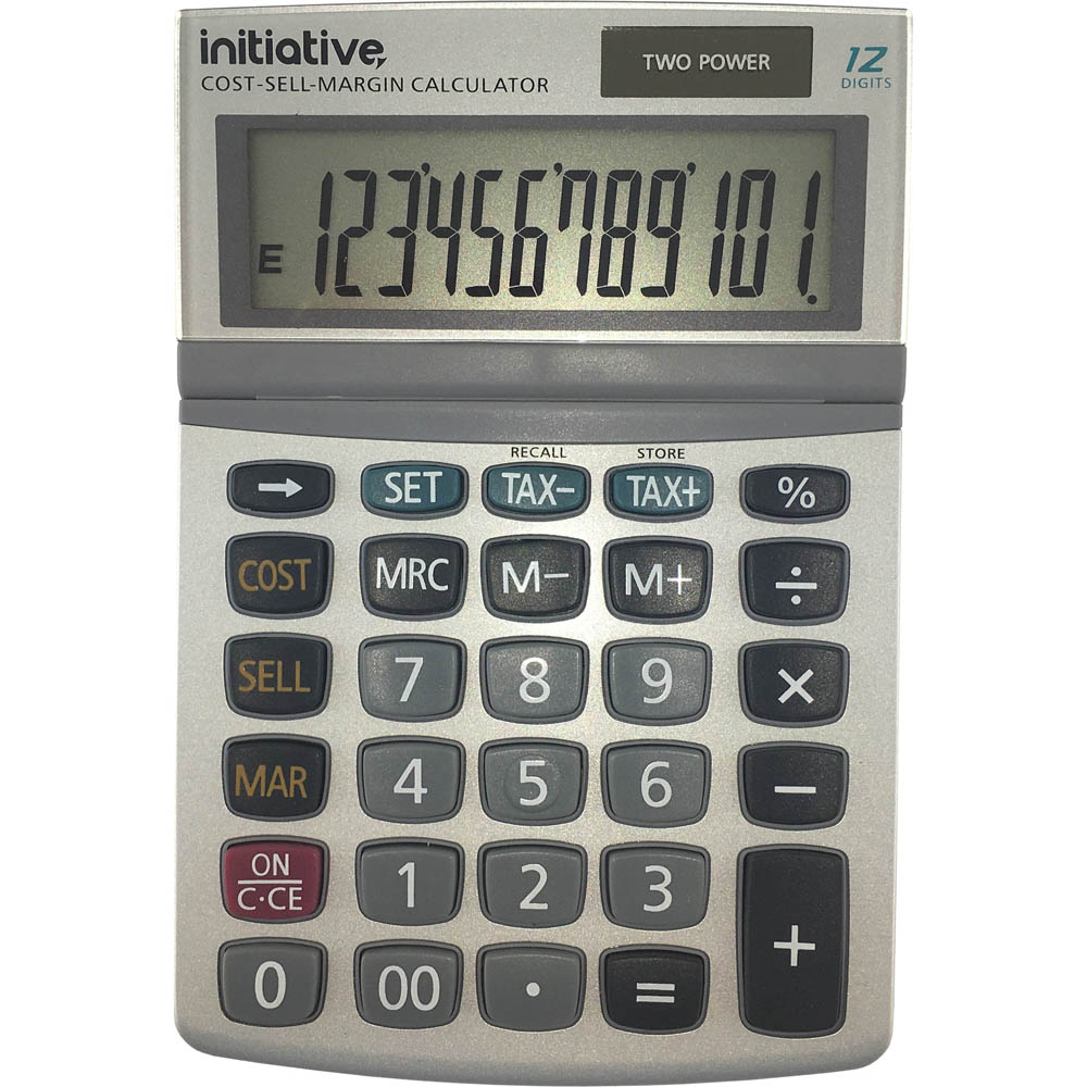 Image for INITIATIVE DESKTOP CALCULATOR 12 DIGIT DUAL POWERED SMALL GREY from PaperChase Office National