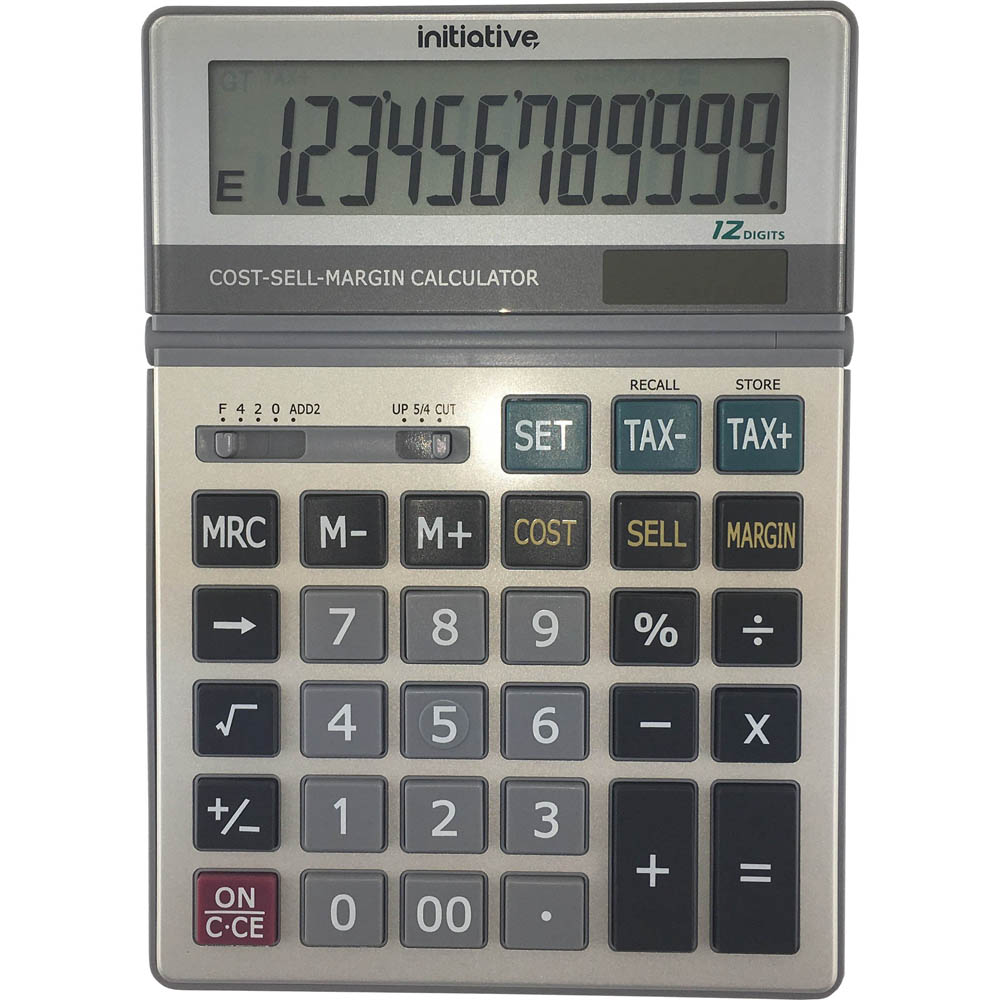 Image for INITIATIVE DESKTOP CALCULATOR 12 DIGIT DUAL POWERED LARGE GREY from PaperChase Office National