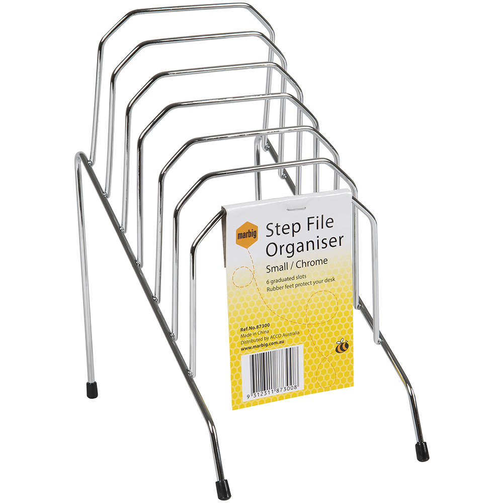 Image for MARBIG STEP FILE ORGANISER 6 SLOTS RACK SMALL CHROME from Mackay Business Machines (MBM)