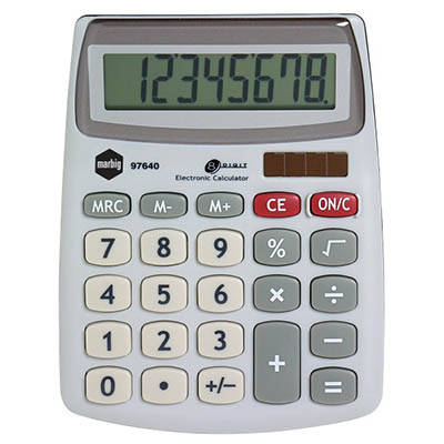 Image for MARBIG DESKTOP CALCULATOR 8 DIGIT SILVER from Pirie Office National
