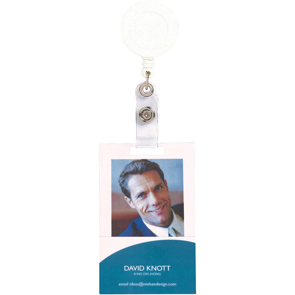 Image for REXEL RETRACTABLE ID CARD HOLDER WITH STRAP WHITE from Wetherill Park / Smithfield Office National