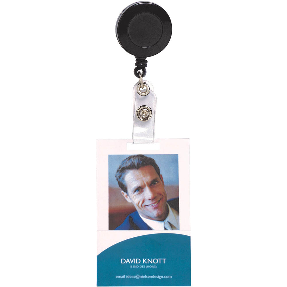 Image for REXEL RETRACTABLE CARD HOLDER WITH STRAP BLACK HANGSELL from Wetherill Park / Smithfield Office National