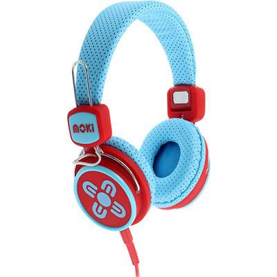 Image for MOKI KID SAFE VOLUME LIMITED HEADPHONES BLUE/RED from Office National Hobart