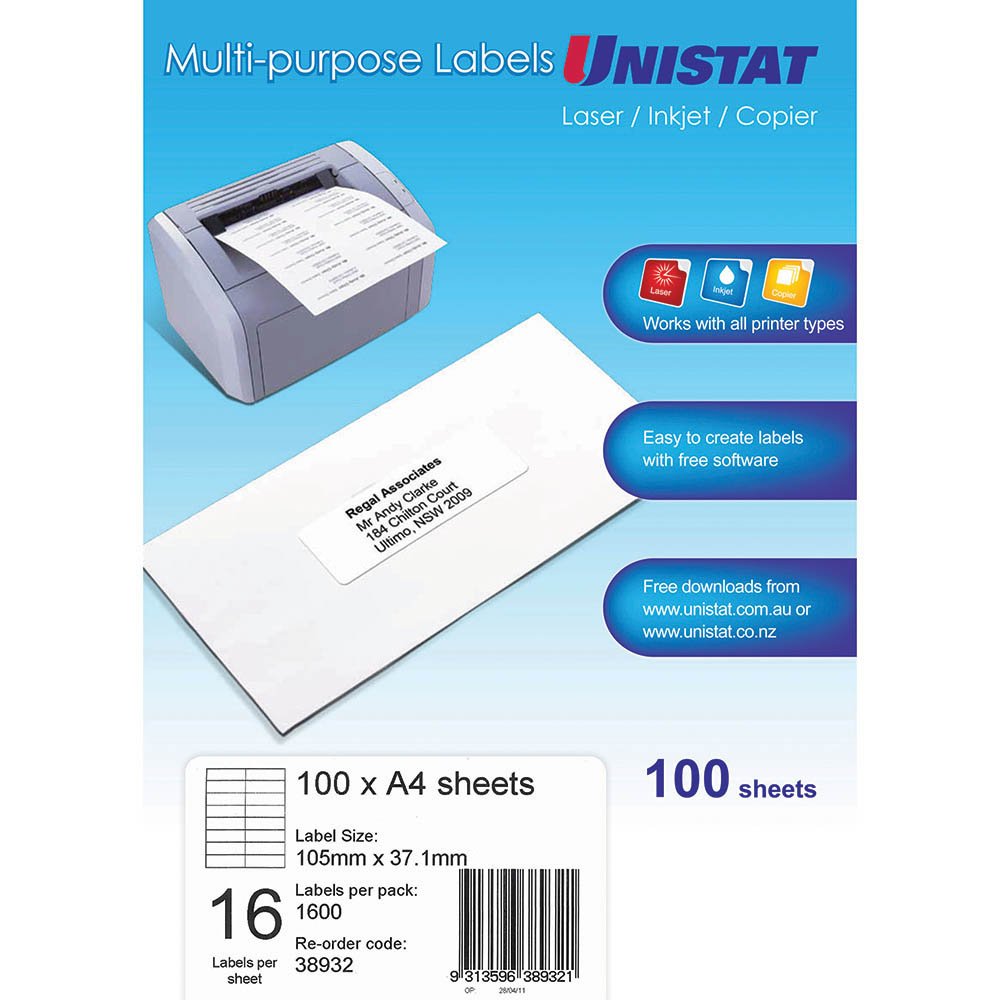Image for UNISTAT 38932 MULTI-PURPOSE LABEL 16UP 105 X 37MM WHITE PACK 100 from Mackay Business Machines (MBM)