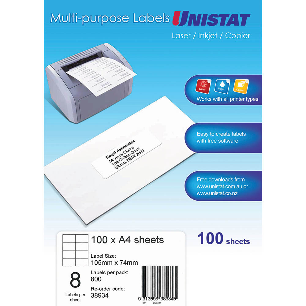 Image for UNISTAT 38934 MULTI-PURPOSE LABEL 8UP 105 X 74MM WHITE PACK 100 from Mackay Business Machines (MBM)