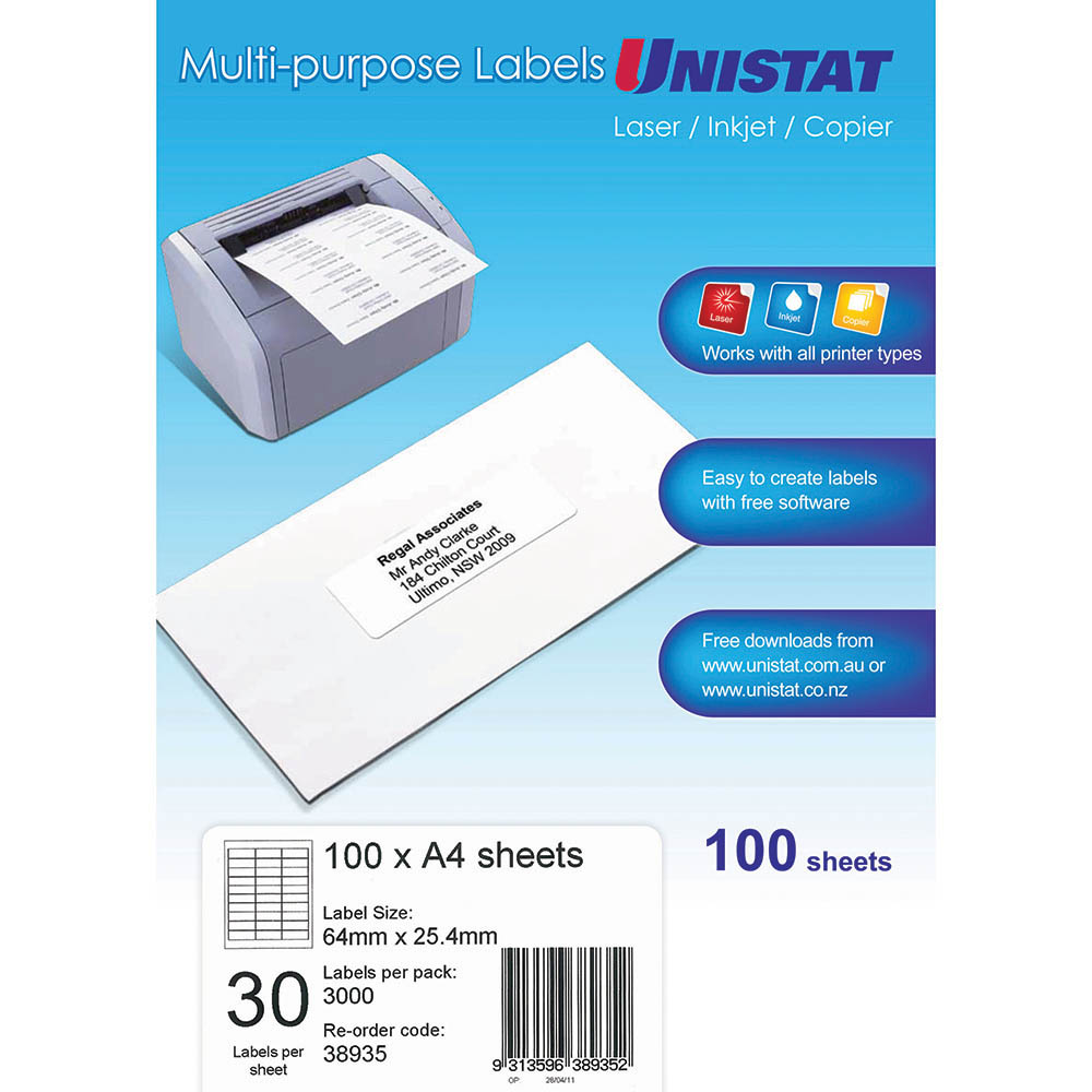 Image for UNISTAT 38935 MULTI-PURPOSE LABEL 30UP 64 X 25.4MM WHITE PACK 100 from Axsel Office National