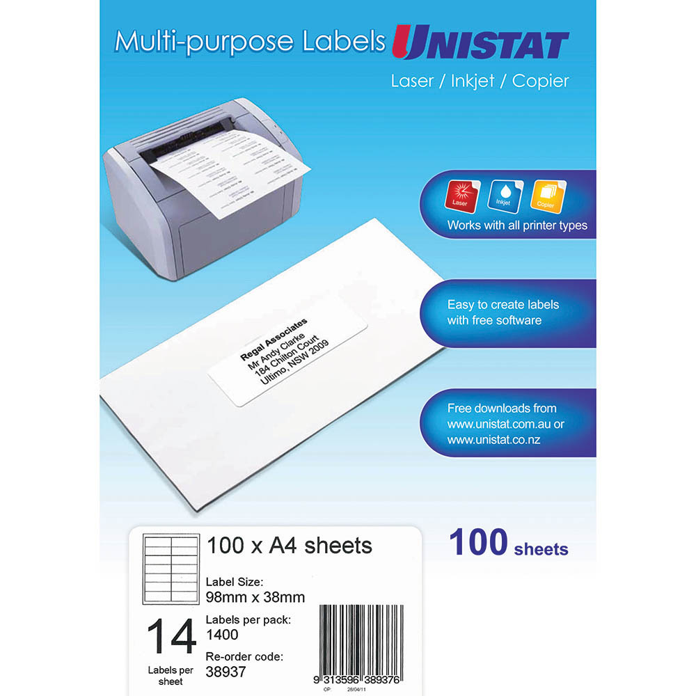 Image for UNISTAT 38937 MULTI-PURPOSE LABEL 14UP 98 X 38MM WHITE PACK 100 from Mackay Business Machines (MBM)