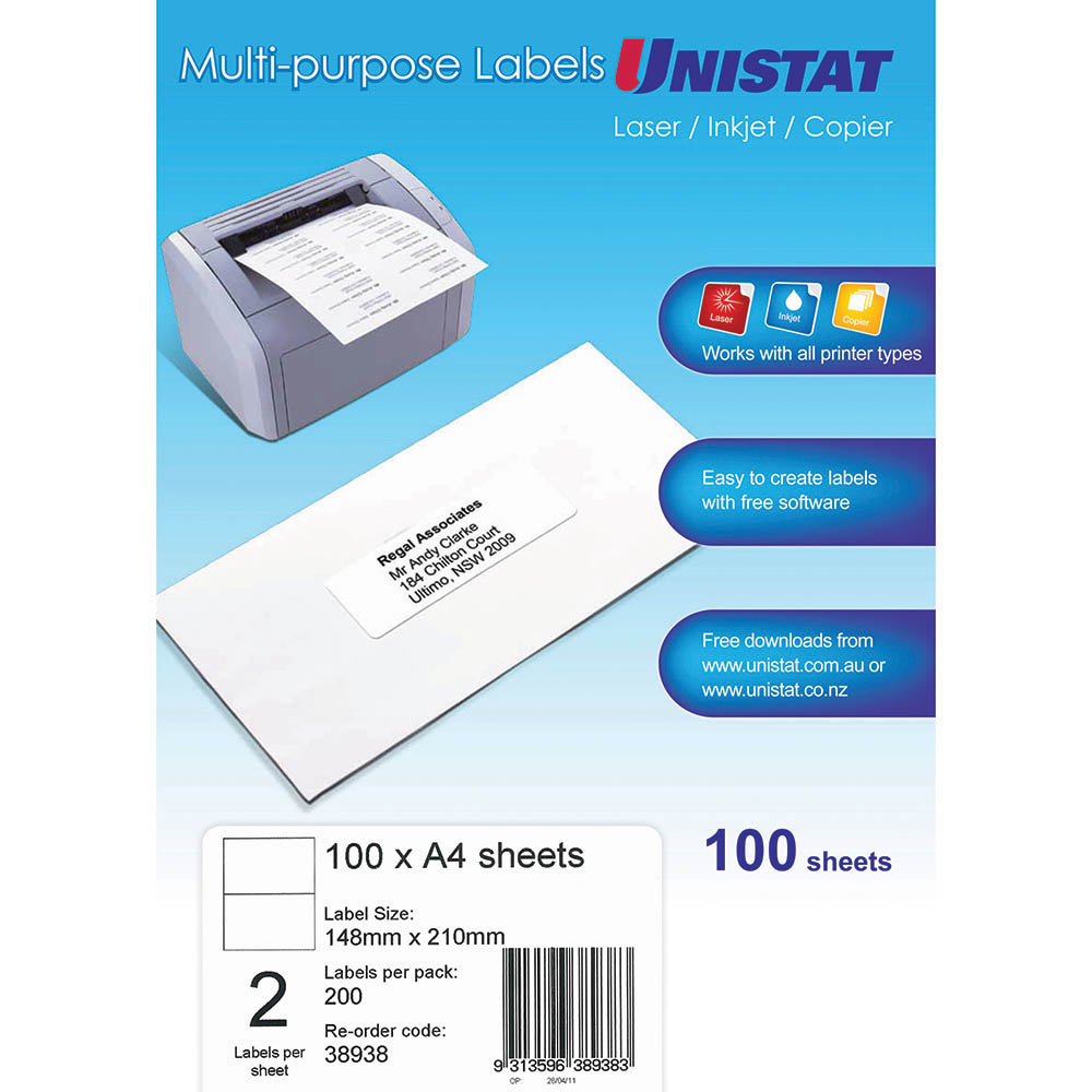 Image for UNISTAT 38938 MULTI-PURPOSE LABEL 2UP 148 X 210MM WHITE PACK 100 from Mackay Business Machines (MBM)