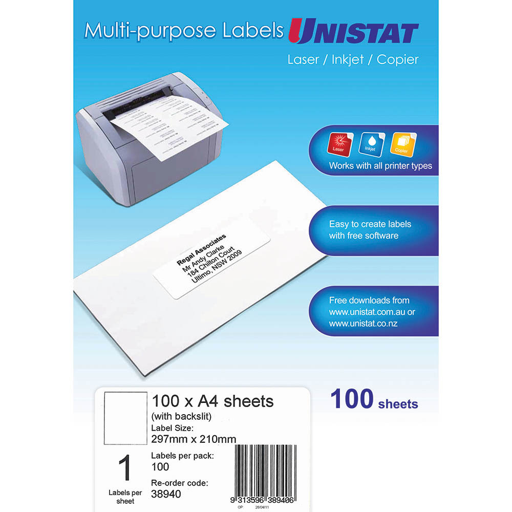 Image for UNISTAT 38940 MULTI-PURPOSE LABEL 1UP 297 X 210MM WHITE PACK 100 from Axsel Office National