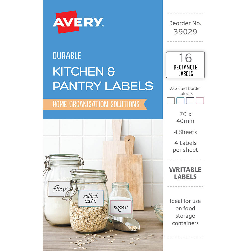 Image for AVERY 39029 KITCHEN AND PANTRY LABELS RECTANGULAR ASSORTED PACK 16 from Axsel Office National