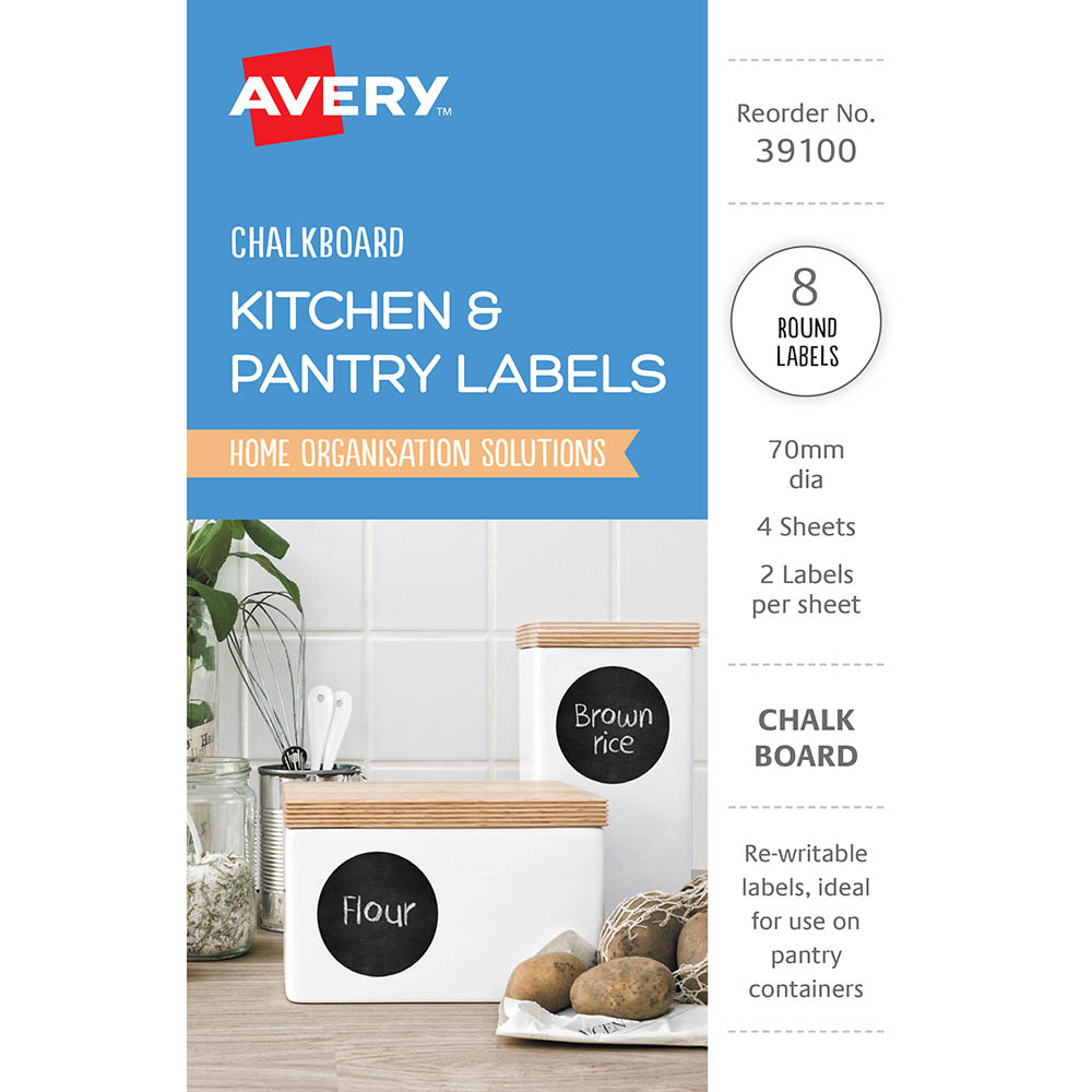 Image for AVERY 39100 KITCHEN AND PANTRY LABELS CIRCLE 75MM BLACK CHALKBOARD PACK 8 from Mackay Business Machines (MBM)