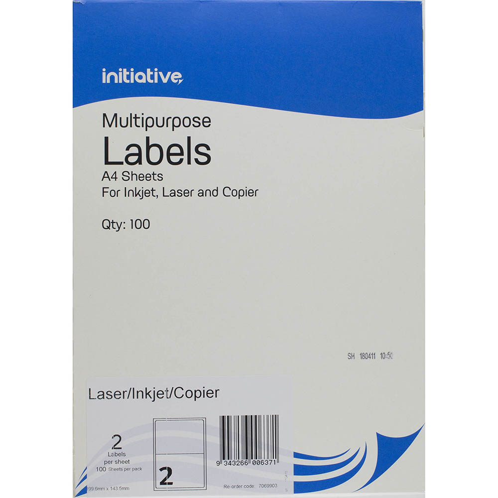 Image for INITIATIVE MULTI-PURPOSE LABELS 2UP 199.6 X 143.5MM PACK 100 from Mackay Business Machines (MBM)
