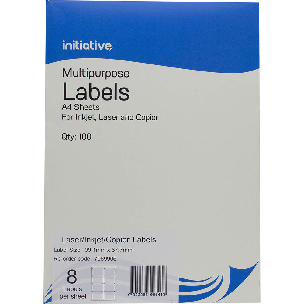 Image for INITIATIVE MULTI-PURPOSE LABELS 8UP 99.1 X 67.7MM PACK 100 from Mackay Business Machines (MBM)