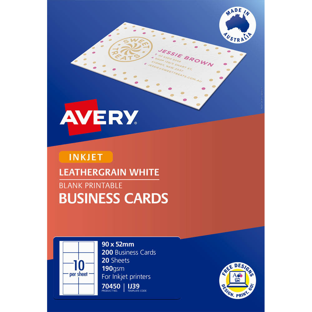 Image for AVERY 70450 IJ39 LEATHERGRAIN BUSINESS CARD 200GSM 90 X 52MM WHITE PACK 200 from OFFICE NATIONAL CANNING VALE, JOONDALUP & OFFICE TOOLS OPD