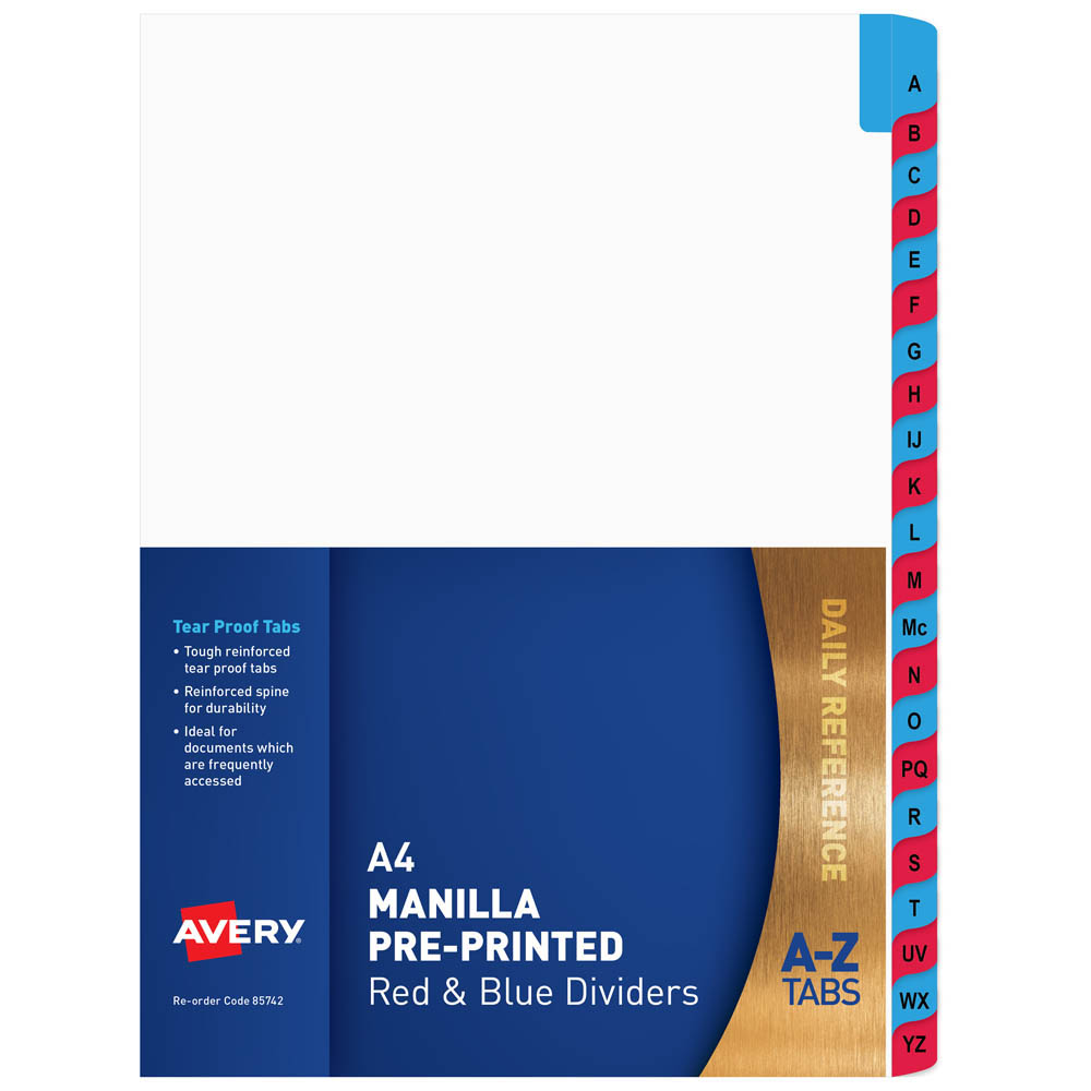 Image for AVERY 85742 DIVIDER MANILLA A-Z A4 WHITE WITH RED AND BLUE PLASTIC TABS from Office National Perth CBD