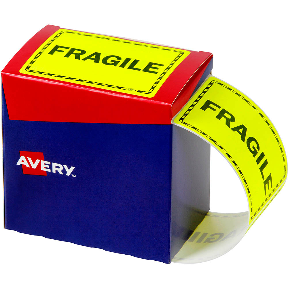 Image for AVERY 932602 MESSAGE LABEL FRAGILE 75 X 99.6MM FLUORO YELLOW PACK 750 from Office National Capalaba