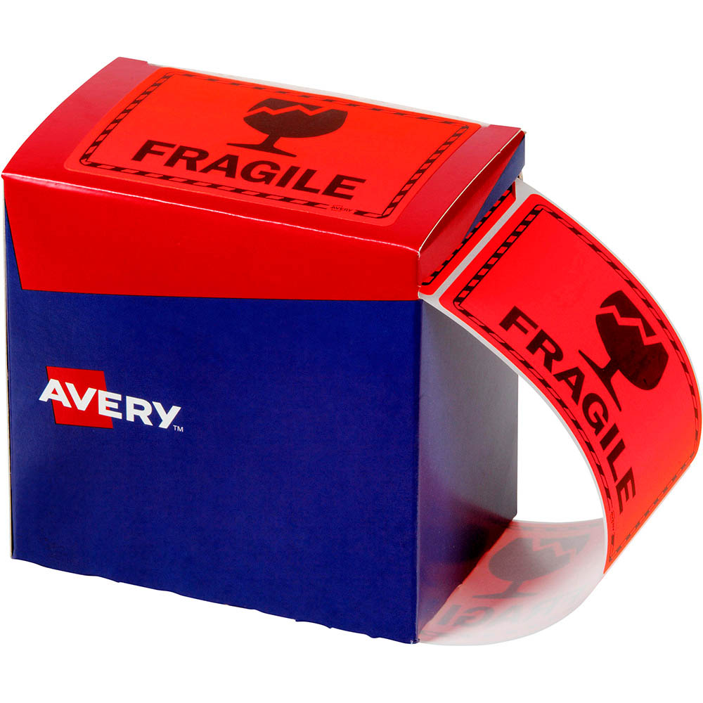 Image for AVERY 932603 MESSAGE LABEL FRAGILE 75 X 99.6MM FLUORO ORANGE PACK 750 from Office National Capalaba