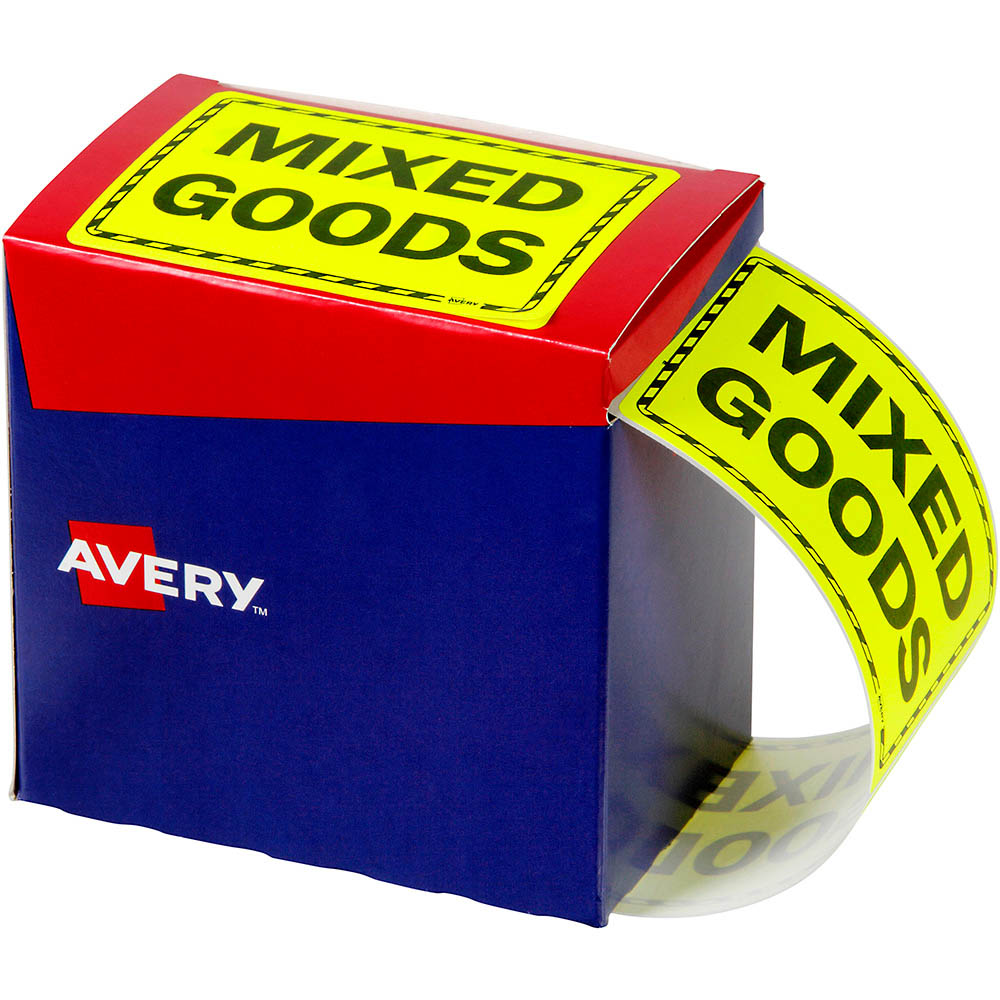 Image for AVERY 932614 MESSAGE LABEL MIXED GOODS 125 X 75MM FLUORO YELLOW PACK 750 from Office National Capalaba